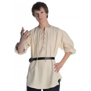 Mittelalterhemd kragenloses Bauernhemd in weiss-naturbeige - Frontansicht 2