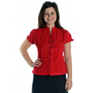 Bluse Kurzarm vorne zum Schnueren aus reiner Baumwolle in rot und natur-beige
