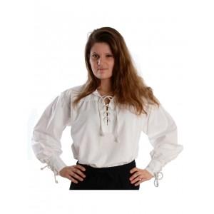 Bluse zum Schnüren mit Kragen aus reiner Baumwolle in schwarz und weiss